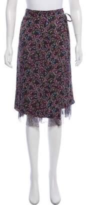 Dries Van Noten Silk Floral Skirt Olive Silk Floral Skirt