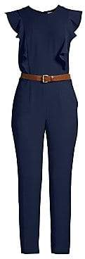 MICHAEL Michael Kors Women's Ruffled Belted Crop Jumpsuit