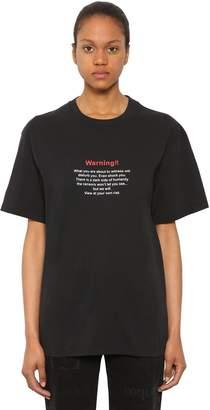 Vetements WARNING オーバーサイズコットンジャージーTシャツ