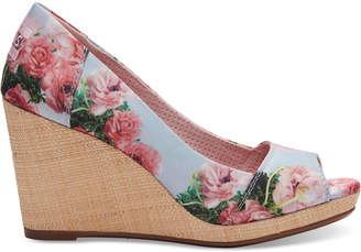 Pink Graphic Floral Print Women's Stella Peep Toe Wedges $79.95 thestylecure.com