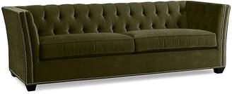 One Kings Lane Elijah Tuxedo Sofa - Moss Velvet