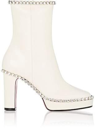 Women's Crystal-Embellished Leather Platform Ankle Boots