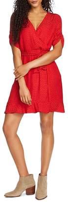 1 STATE 1.STATE Tonal Leopard Print Faux-Wrap Dress