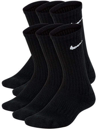 Kids' 6-Pack Crew Socks, Kids Unisex, Black