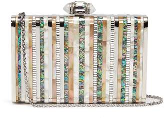 Judith Leiber 'Shell' glass crystal abalone shell stripe clutch