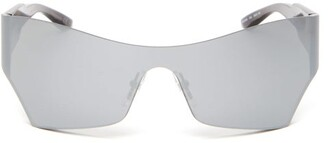 Balenciaga Logo Engraved Square Acetate Sunglasses - Mens - Silver