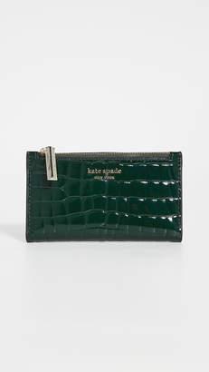 Kate Spade Sylvia Croc Embossed Small Slim Bifold Wallet