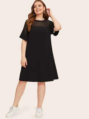 Shein Plus Mesh Yoke Insert Tunic Dress