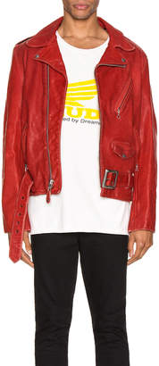 Schott P614 Leather Perfecto Jacket in Red | FWRD