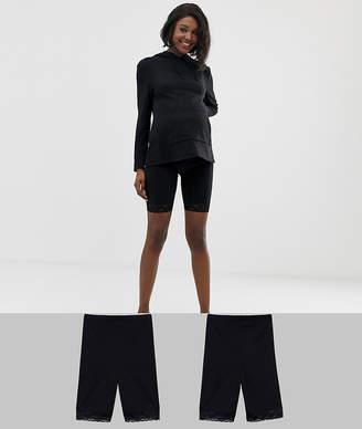 aee52b7651841 Mama Licious Mama.Licious Mamalicious maternity 2-pack lace trim shape  shorts in black