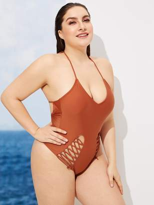 Shein Plus Criss Cross Detail One Piece Swimwear