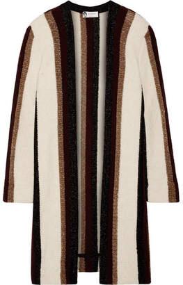 Lanvin - Striped Metallic Knitted Cardigan - White