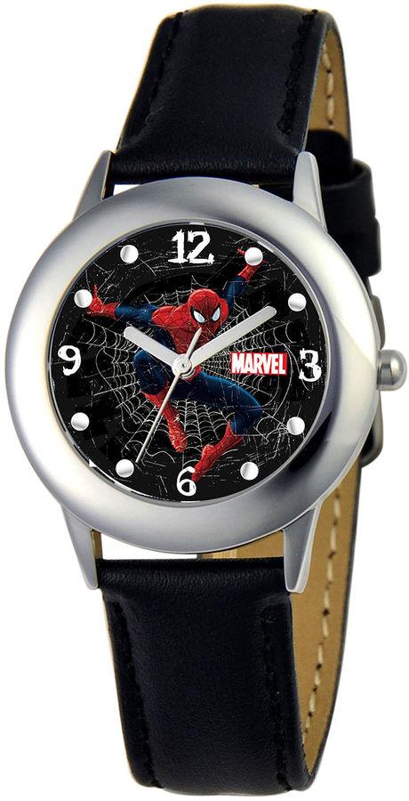 MARVEL Marvel Spiderman Tween Black Leather Strap Watch