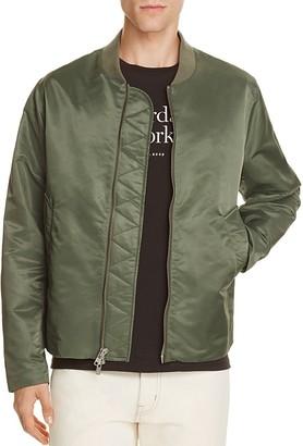 SATURDAYS NYC Julian Satin Streamlined Bomber Jacket $395 thestylecure.com