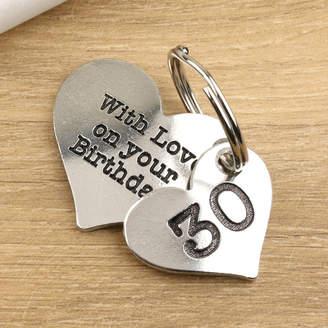 Multiply design 30th Birthday Gift Pewter Heart Key Ring