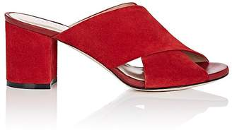 Barneys New York Women's Suede Crisscross-Strap Mules $275 thestylecure.com
