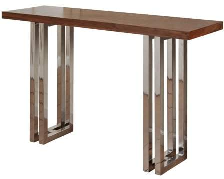 Generic Parallel Lines Twin Leg Console Table - Polished Steel Finish - Natural Finish