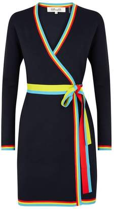 Diane von Furstenberg Navy Stretch-knit Wrap Dress