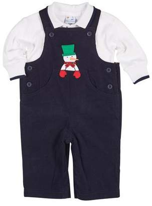 Florence Eiseman Snowman Overalls w/ Long-Sleeve Polo, Size 3-18 Months