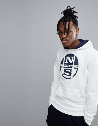 North Sails Lowell Logo Hoodie In White