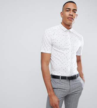 Asos DESIGN smart skinny shirt with ditsy boat print and mini collar