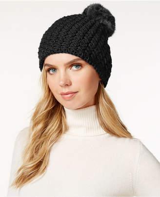 Surell Star Stitched Knit Rabbit Fur Pom Hat