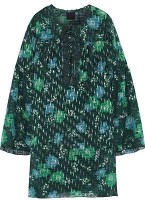 Anna Sui Floral-print Fil Coupe Silk-blend Mini Dress