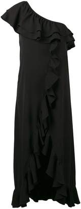 Ganni asymmetric ruffled dress