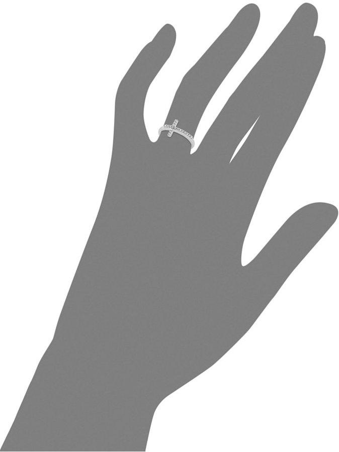 Diamond Sideways Cross Ring in 10k White Gold (1/10 ct. t.w.)