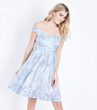 Yumi Pale Blue Floral Embroidered Prom Dress