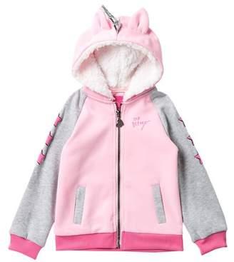 Betsey Johnson Ponte Unicorn Faux Fur Lined Bomber Jacket (Little Girls)