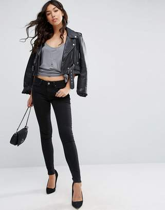 Asos Design Lisbon Midrise Skinny Jeans in Washed Black