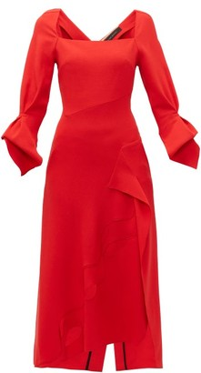 Roland Mouret Trinity Laser Cut Panelled Wool Midi Dress - Womens - Red