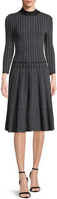 Emporio Armani Long-Sleeve Fit-and-Flare Chevron-Print Knit Jacquard Dress