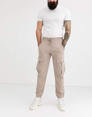 BEIGE Asos Design ASOS DESIGN skinny sweatpants with cargo pockets in