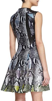 Diane von Furstenberg Ida Core Animal-Print Silk Mikado Dress