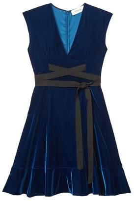 Derek Lam CROSBY 10 Velvet Sleeveless Belted Fit And Flare Dress
