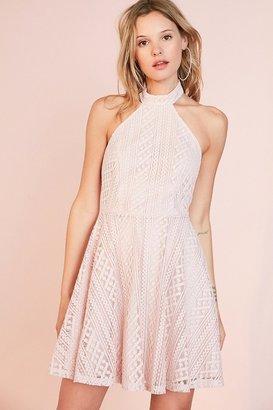 Kimchi Blue Lace Halter Mock Neck Mini Dress $79 thestylecure.com