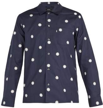 A.P.C. Sun Circle Print Cotton Shirt - Mens - Navy