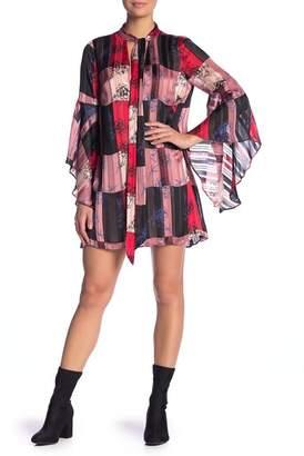 BCBGeneration Front Neck Tie Bell Sleeve Floral Print Dress