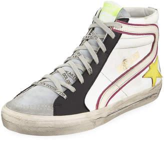 Golden Goose Men's Slide Colorblock Leather High-Top Sneakers