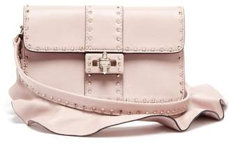 Valentino Rockstud Ruffle Strap Cross Body Leather Bag - Womens - Light Pink