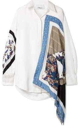 3.1 Phillip Lim Oversized Satin And Crepe-trimmed Printed Silk-twill Shirt - Ivory