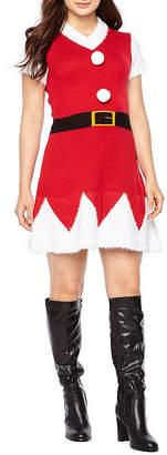 City Streets Short Sleeve Holiday A-Line Dress-Juniors
