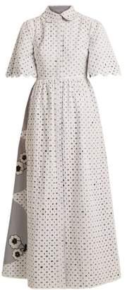 Huishan Zhang - Cordon Reversible Broderie Anglaise Dress - Womens - Blue White