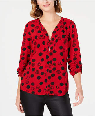 NY Collection Petite Dot-Print Zippered-Neck Top