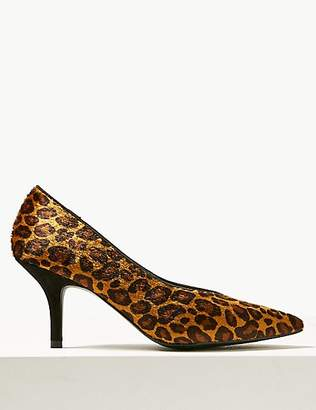 M&S Collection Animal Print Stiletto Heel High Cut Court Shoes