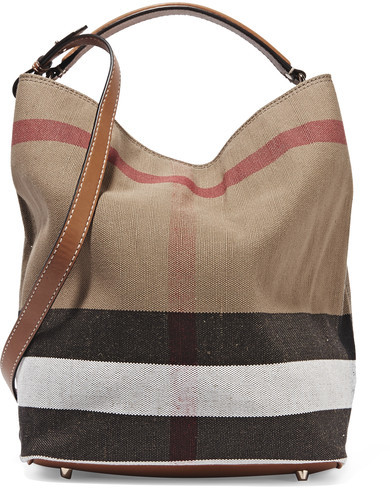 Burberry - Leather-trimmed Checked Canvas Hobo Bag - Brown