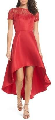 CHI CHI LONDON Lace Yoke High/Low Cocktail Dress