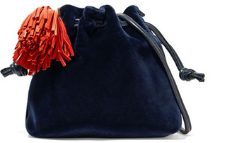 Clare V. - Henri Small Leather-trimmed Velvet Bucket Bag - Navy $280 thestylecure.com